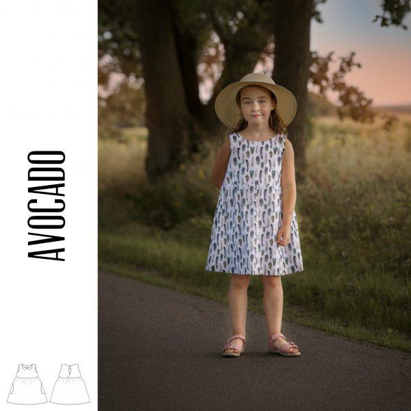 "Digitales Schnittmuster und EBook Kinderkleid ""Avocado"" (Größen 98-122)"