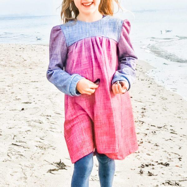 """Papierschnittmuster Kinderkleid und Bluse """"Peppa"""" (Größen 98-122), inkl. Nähanleitung in Papierform"""