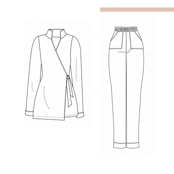 "Pyjama ""Lavendel"", digitales Schnittmuster und Nähanleitung (Gr. 34 - 48)"